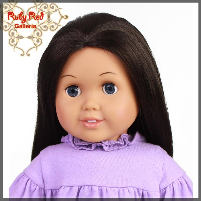 "AD0003A Straight Dark Brown Parting Wig for 18"" Girl"