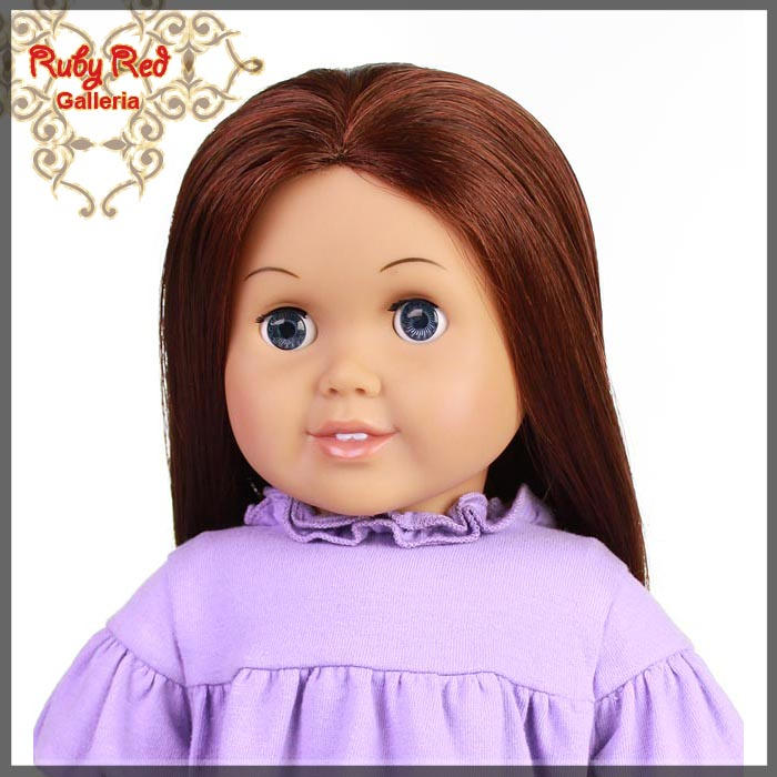 "AD0003C Straight Dark Auburn Parting Wig for 18"" Girl"