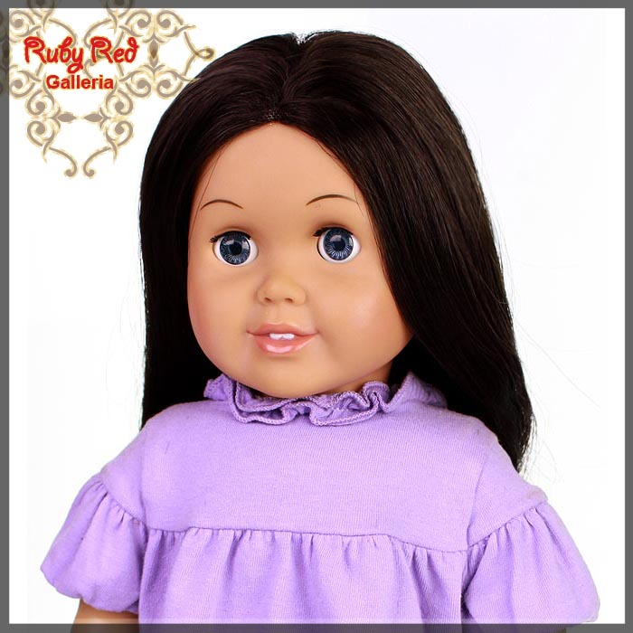 "AD0004A Straight Dark Brown Parting Wig for 18"" Girl"