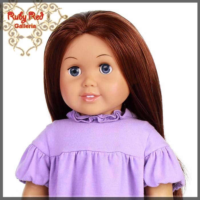 "AD0004C Straight Dark Auburn Parting Wig for 18"" Girl"