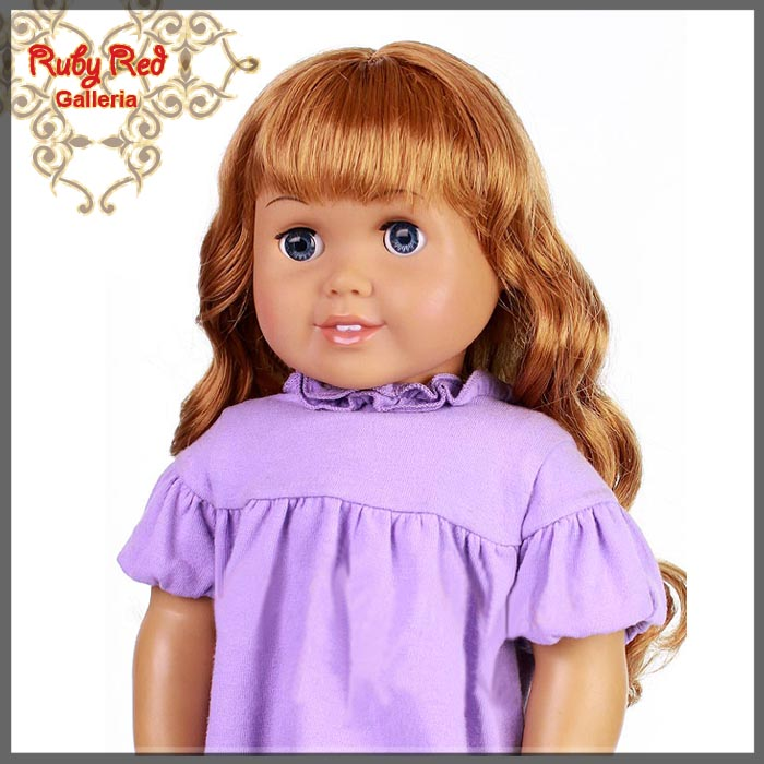 "AD0009B Curly Auburn Bang Wig for 18"" Girl"