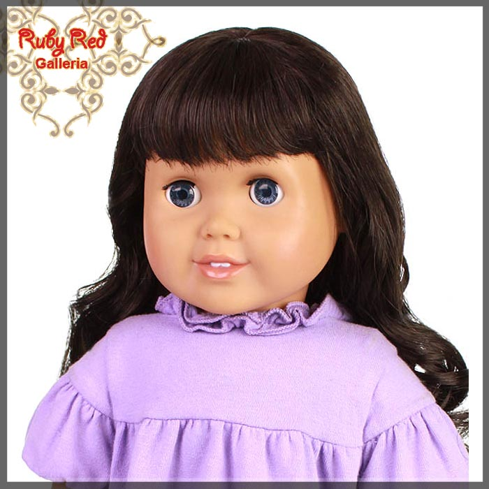 "AD0010A Curly Dark Brown Bang Wig for 18"" Girl"