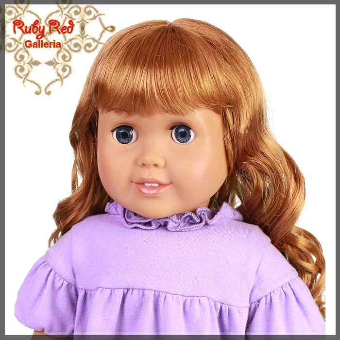 "AD0010B Curly Auburn Bang Wig for 18"" Girl"