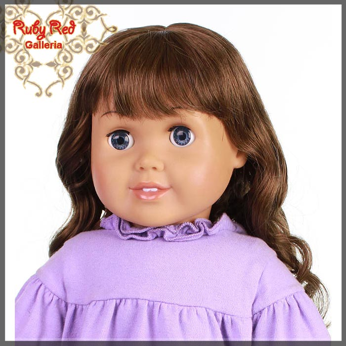 "AD0010E Curly Brunette Bang Wig for 18"" Girl"