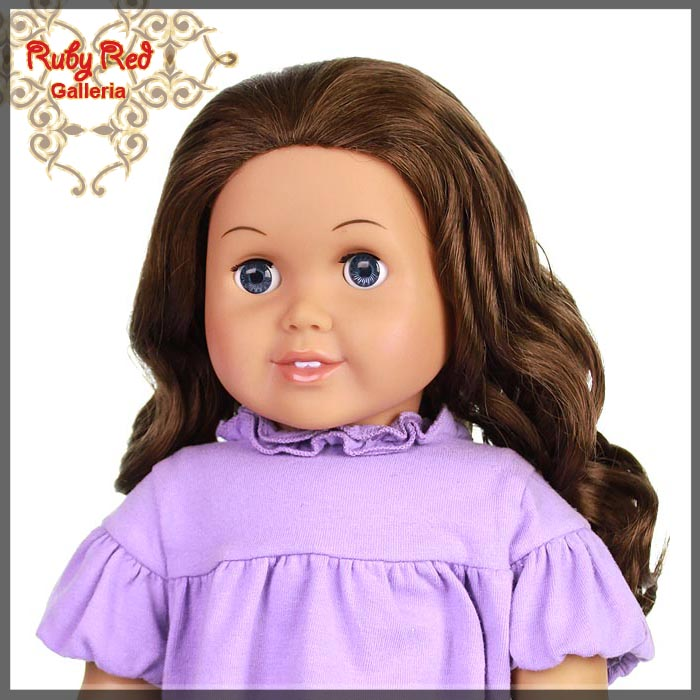 "AD0011E Curly Brunette Parting Wig for 18"" Girl"