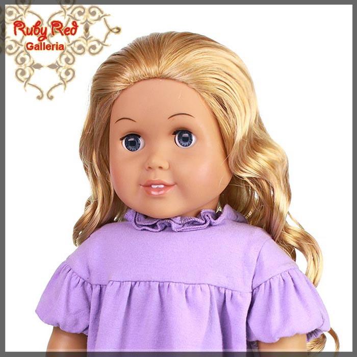 "AD0012D Curly Frosted Blonde Parting Wig for 18"" Girl"