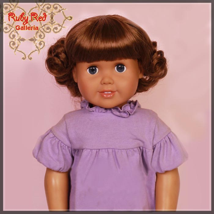 "AD0019E4 Medium Brown French Curly Wig for 18"" Girl"