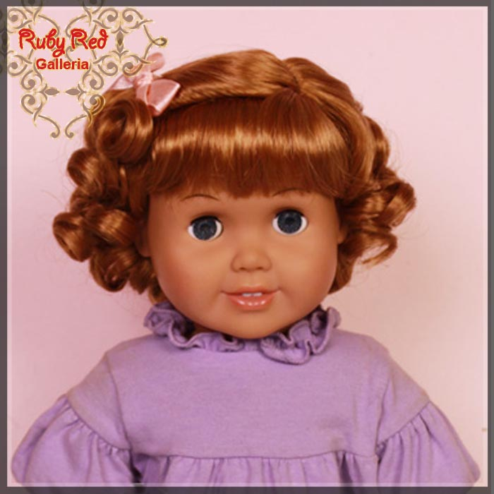 "AD0021E14 Auburn French Curly Wig for 18"" Girl"