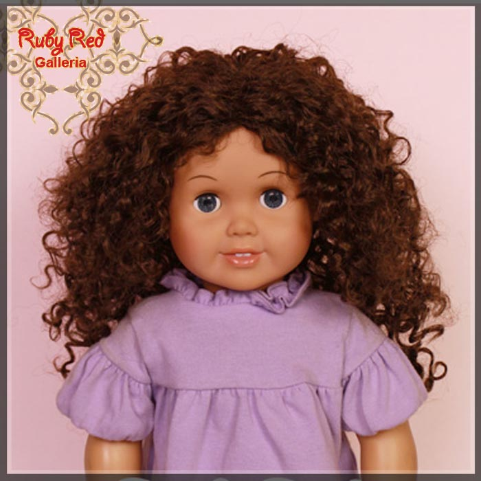 "AD0023E7 Dark Brown Curly Wig for 18"" Girl"