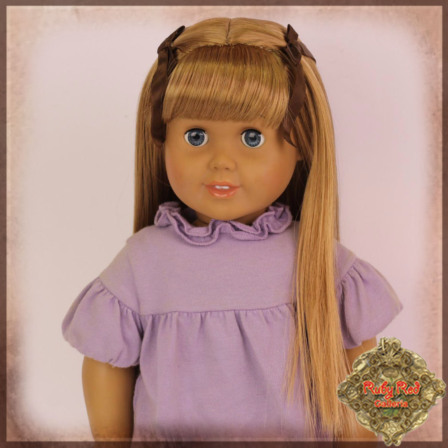 "AD0032A Light Brown Straight Wig with Bow & Bangs for 18"" Play Girl"