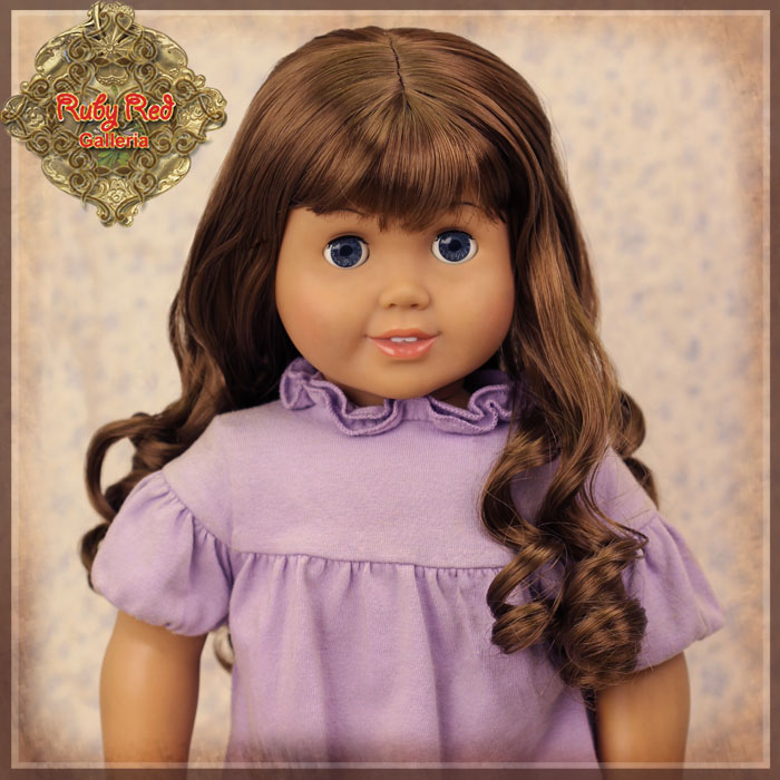 "AD0035A Curly Brown Wig with Bangs for 18"" Play Girl"