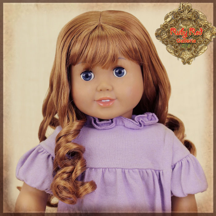 "AD0035B Curly Brown Wig with Bangs for 18"" Play Girl"