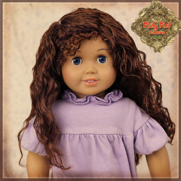 "AD0036A Curly Auburn Parting Wig for 18"" Play Girl"