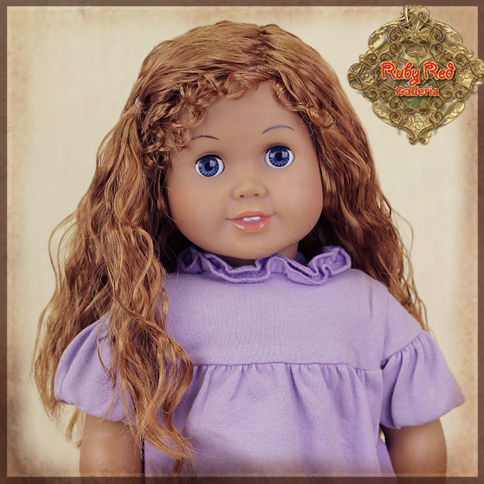 "AD0036C Curly Brown Parting Wig for 18"" Play Girl"