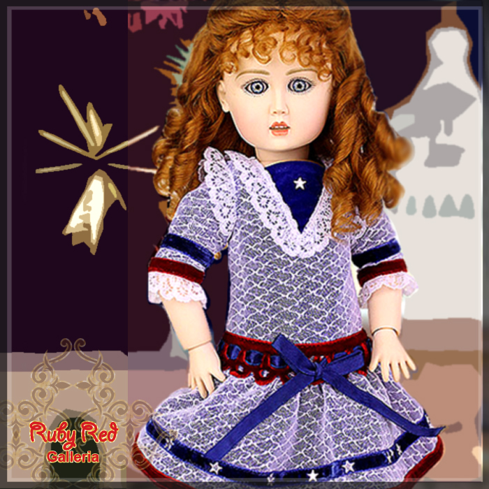 EC0018A Bleuette celebrates the National Day of USA (with wig) - Bleuette Cloth set