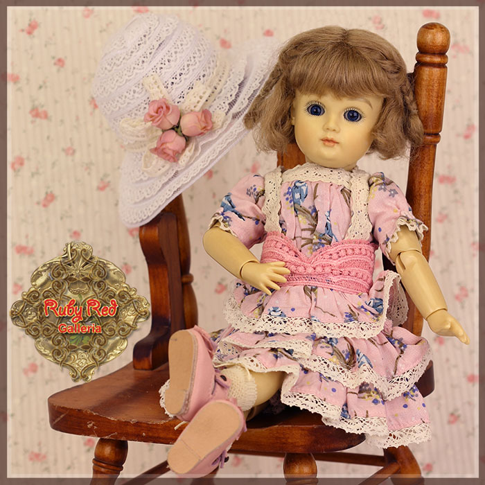 EC0070A Bleuette Pink Printed and Lace Dress (with shoes)