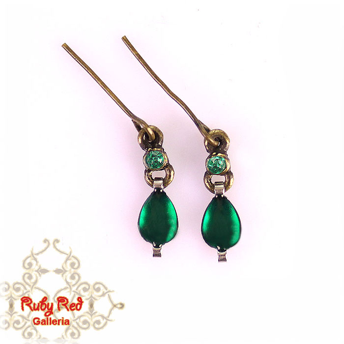 EE0010A Green Antique Earrings - for Bleuette
