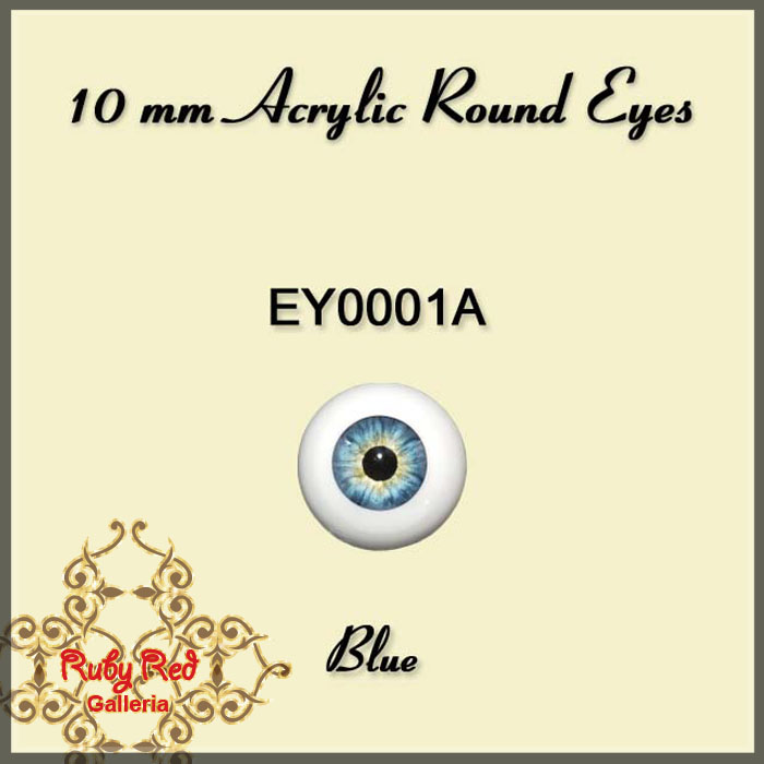 EY0001A 10mm BLUE Round Acrylic Eyes