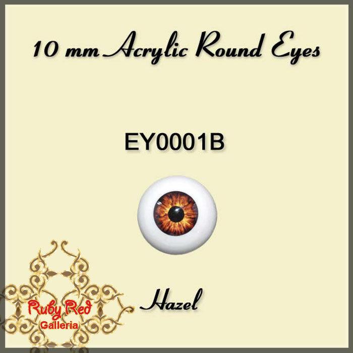 EY0001B 10mm Hazel Round Acrylic Eyes