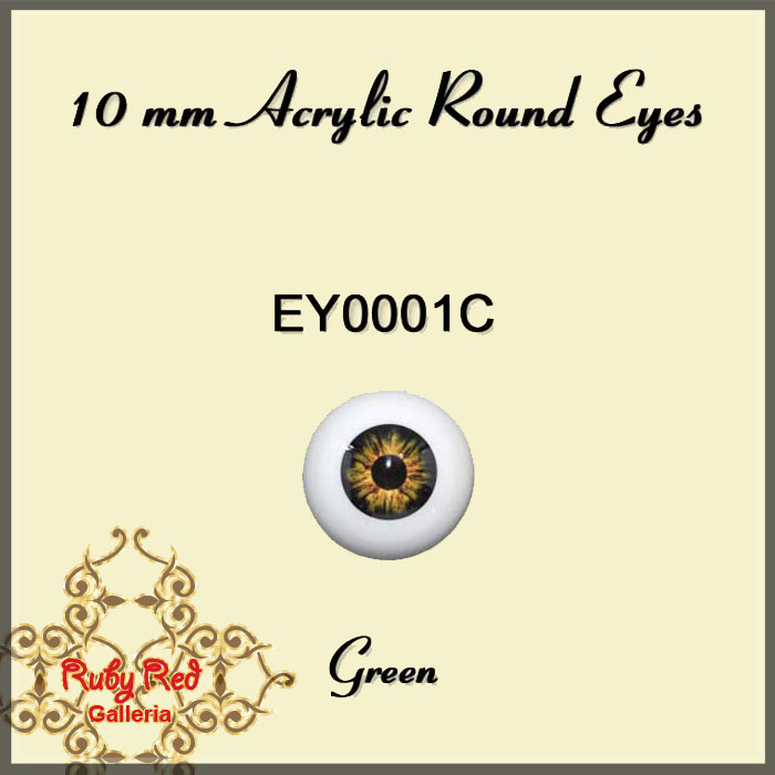 EY0001C 10mm Green Round Acrylic Eyes