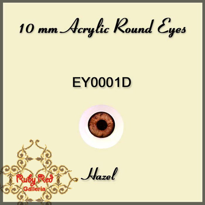 EY0001D 10mm Soft Hazel Acrylic Eyes