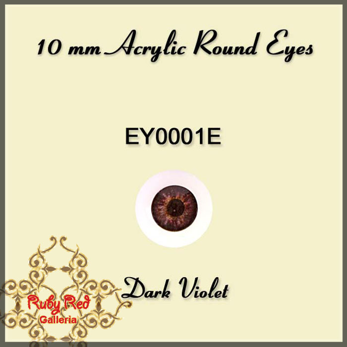 EY0001E 10mm Dark Violet Round Acrylic Eyes