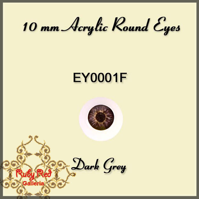 EY0001F 10mm Dark Grey Round Acrylic Eyes