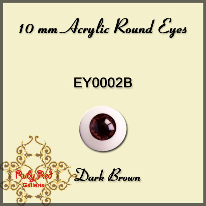 EY0002B 10mm Dark Brown Misty Acrylic Eyes