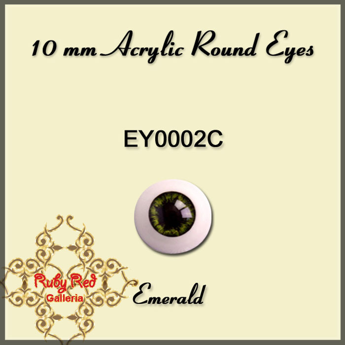 EY0002C 10mm Emerald Misty Acrylic Eyes