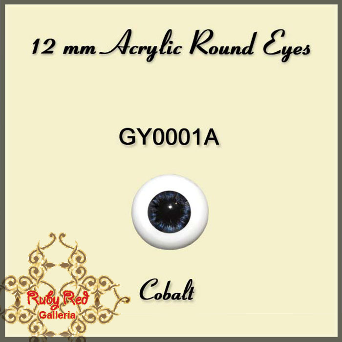 GY0001A 12 mm Cobalt Acrylic Round Eyes