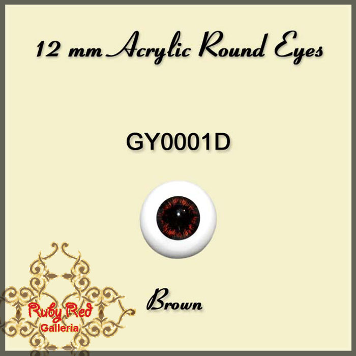 GY0001D 12 mm Brown Acrylic Round Eyes