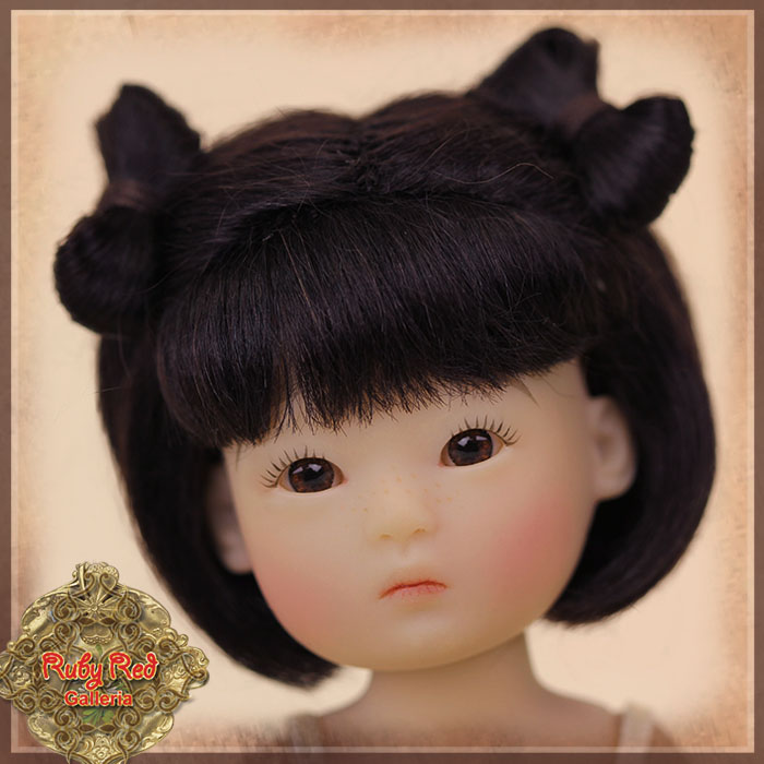 HD0021A Yu Ping Dark Brown Mohair Wig with Bow