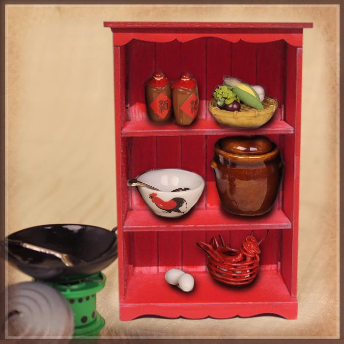 HZ0012B Cooking Utensil Set with Red Cabinet