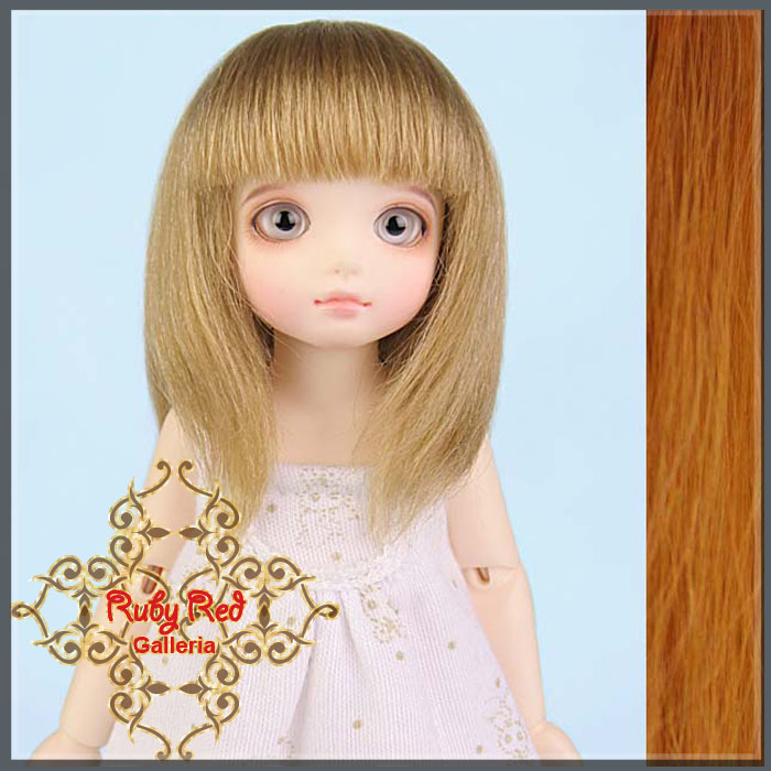 ID0001G Carrot Red Bobbed Mohair Wig