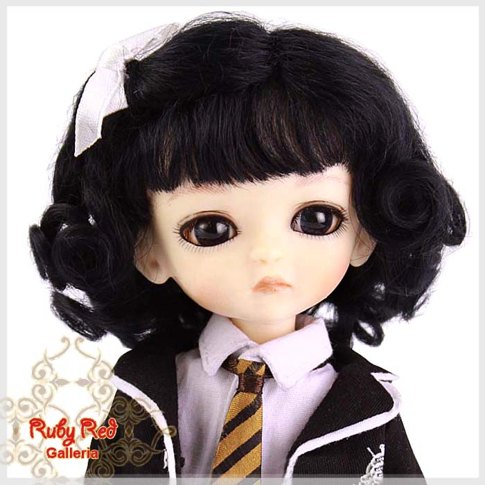 LD0003A Black French Curly Mohair Wig