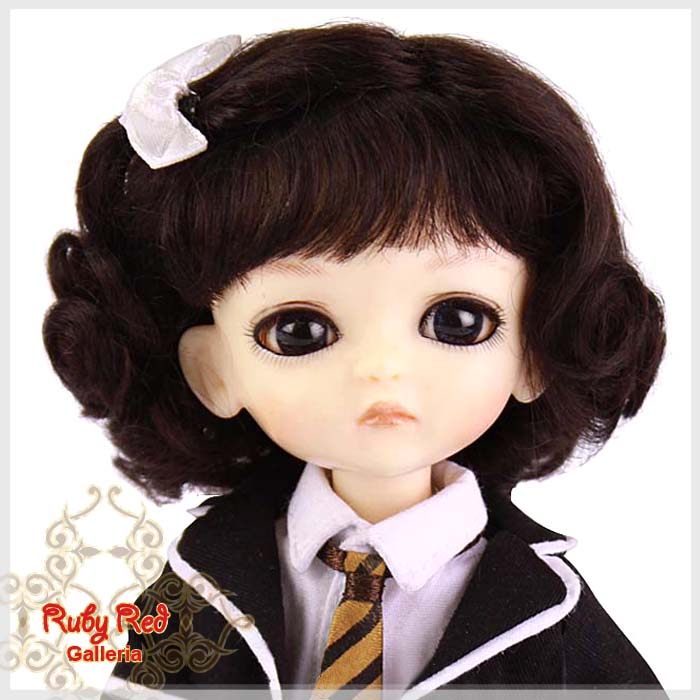 LD0003B Dark Brown French Curly Mohair Wig