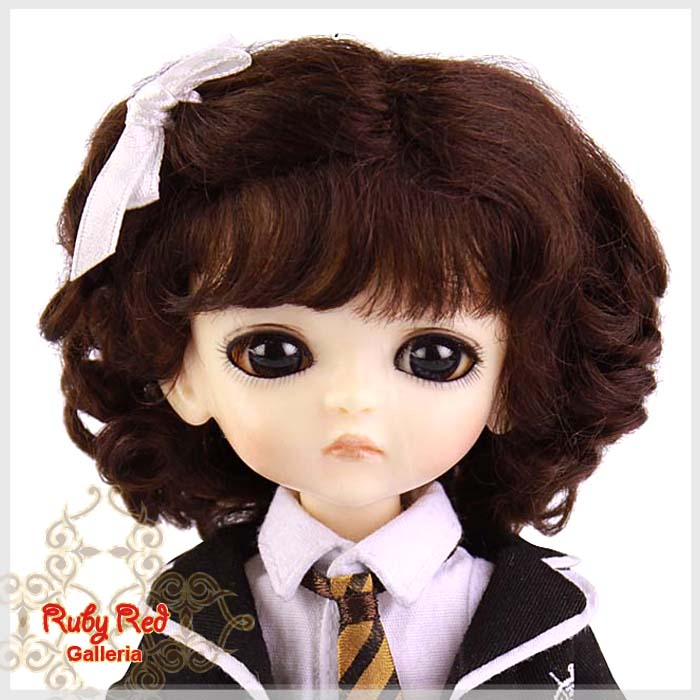 LD0003F Medium Brown French Curly Mohair Wig