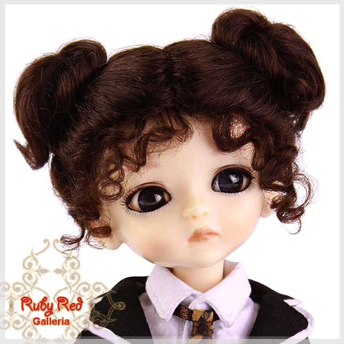 LD0006F Medium Brown Mohair Buns Wig