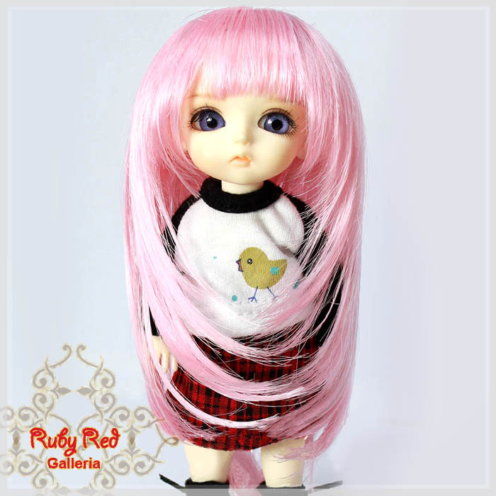 LD0011O Long Curly Straight Pink Wigs