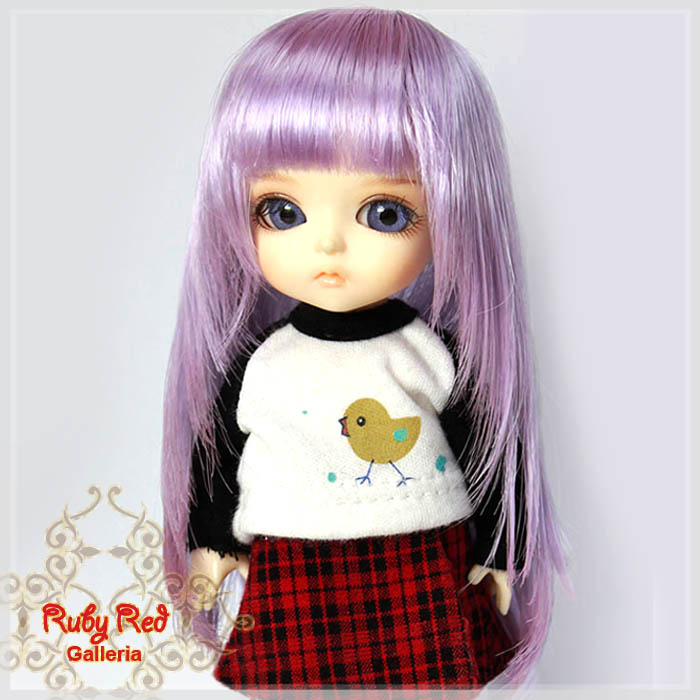 LD0011Q Long Curly Straight Lavender Wigs
