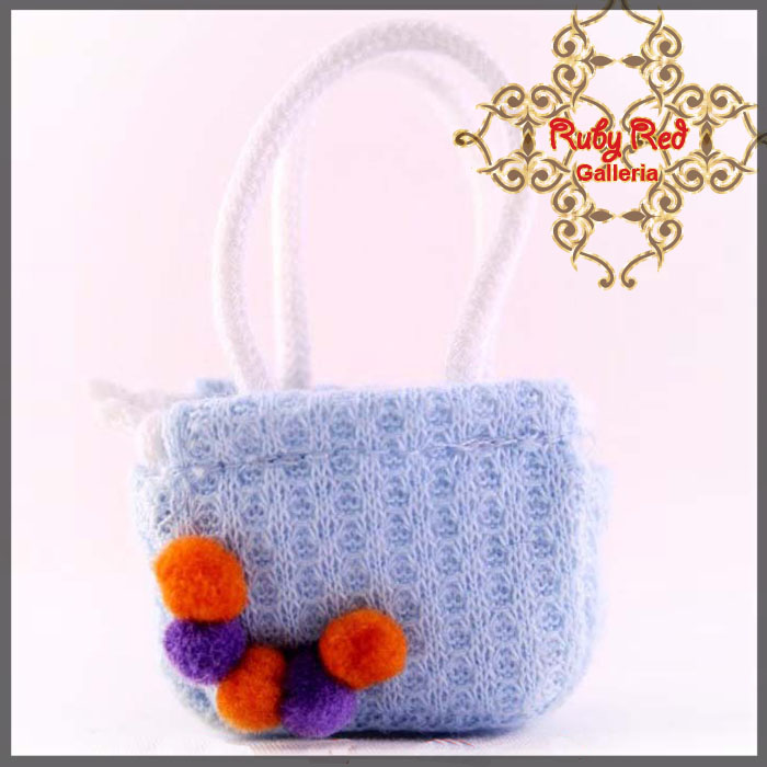 RB0004A Blue Knitting Handbag