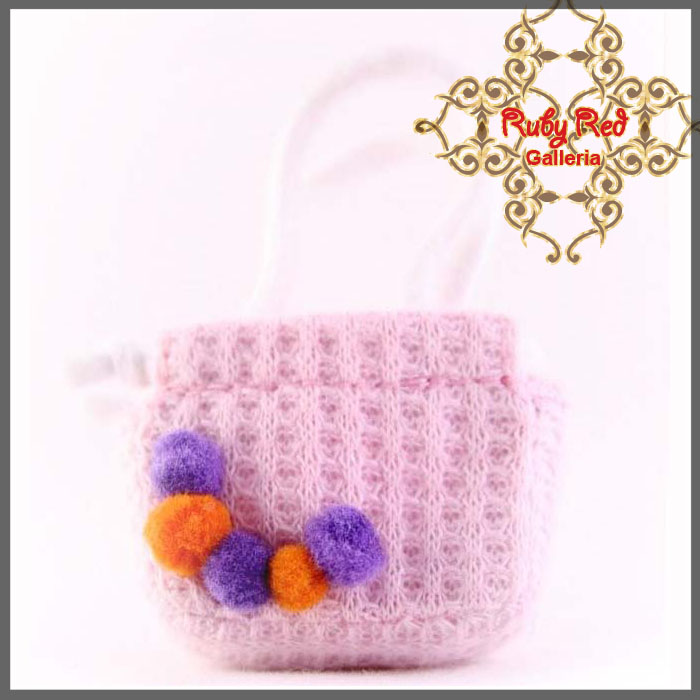 RB0004B Pink Knitting Handbag