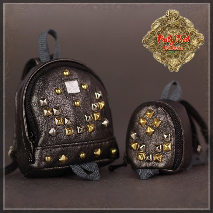 RB0028A Mini Grey Backpack with Studs