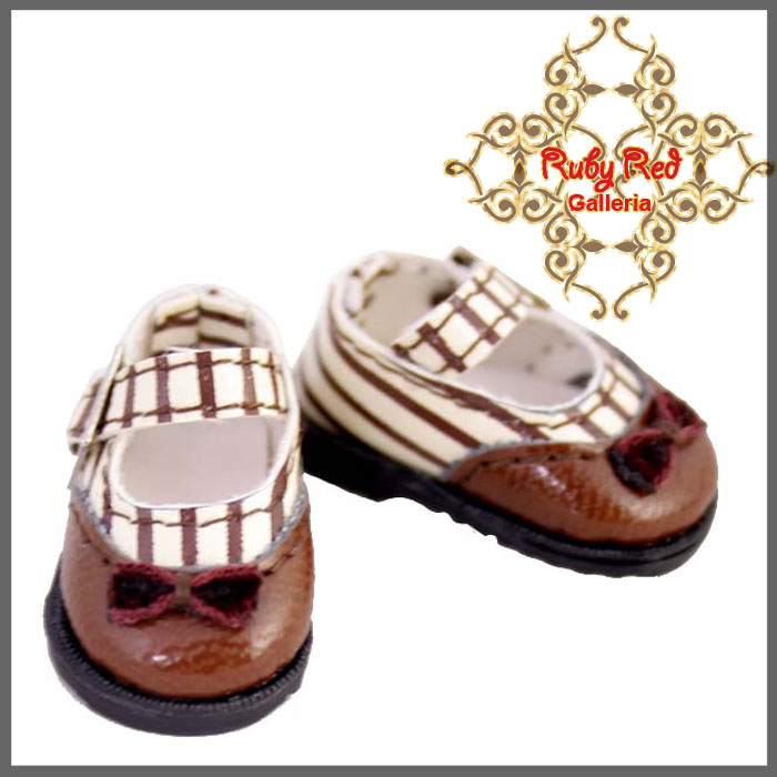 RH0027E Brown Stripe Knot Mary Jane