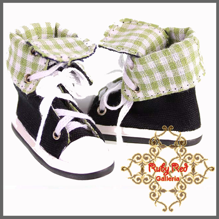 WH0030A Black & Green Canvas Sneakers