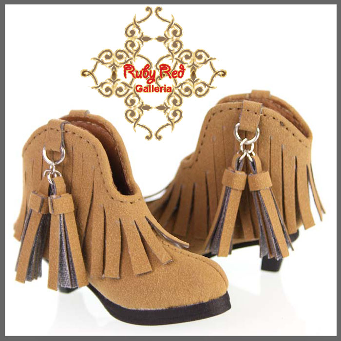 WH0035A Brown Short Boots with Tassels