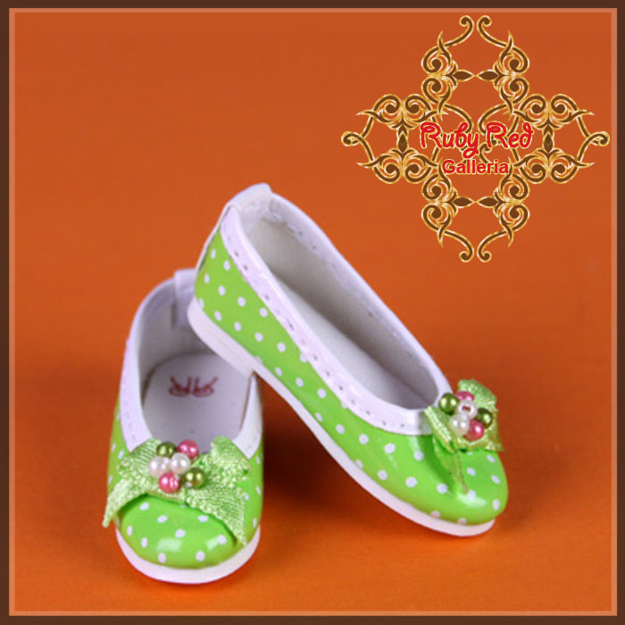 WH0046A Light Green Leather Shoes with Ribbon & White dots