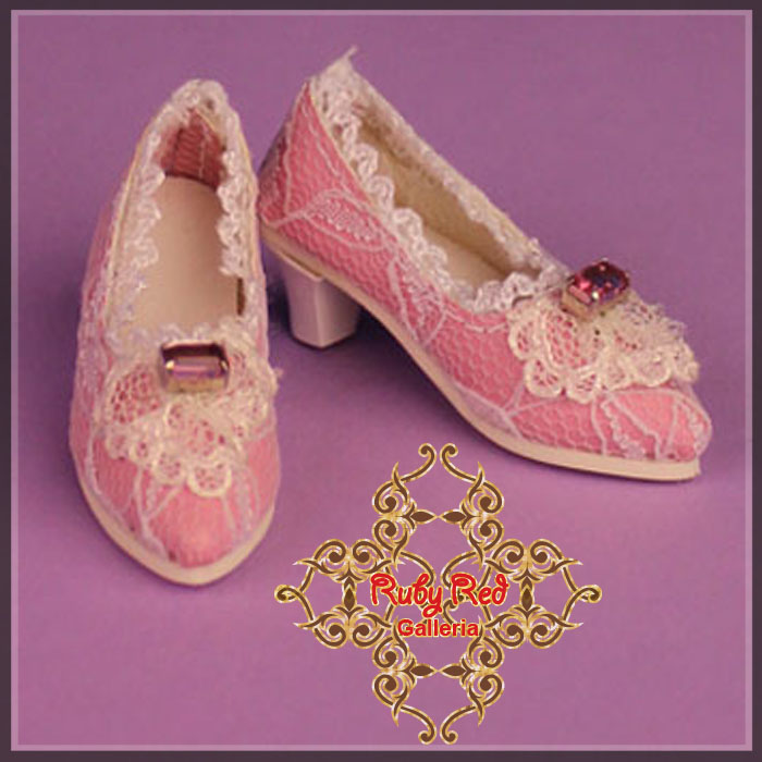 WH0060A Pink High Heel Shoes with White Lace